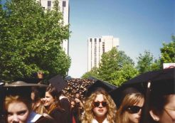 The Class of 1993 leaves Superblock, crossing the 38th Street Bridge for Penn's Commencement, May 17, 1993. Photo by Kiera Reilly, C'93