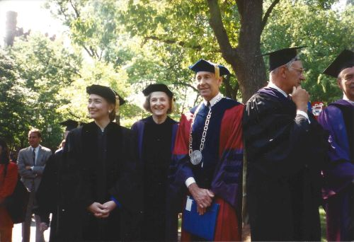 First Lady Hillary Clinton, Interim Penn President Claire Fagin, and Penn President Sheldon Hackney watch the Commencement Procession at Penn, May 17, 1993. Photo by Kiera Reilly, C'93