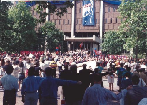 "Singing, ""The Red and The Blue,"" on College Green, May 15, 1993"