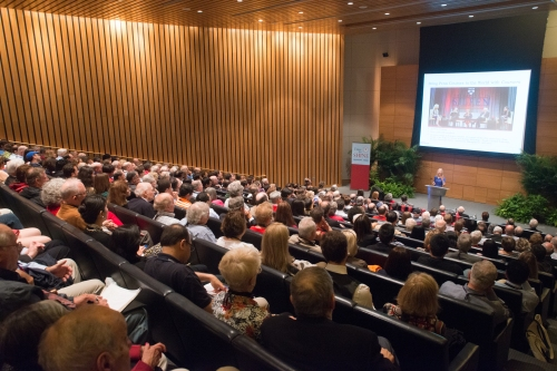 """A Conversation with Penn President Amy Gutmann,"" in Huntsman Hall during Alumni Weekend, 2013."