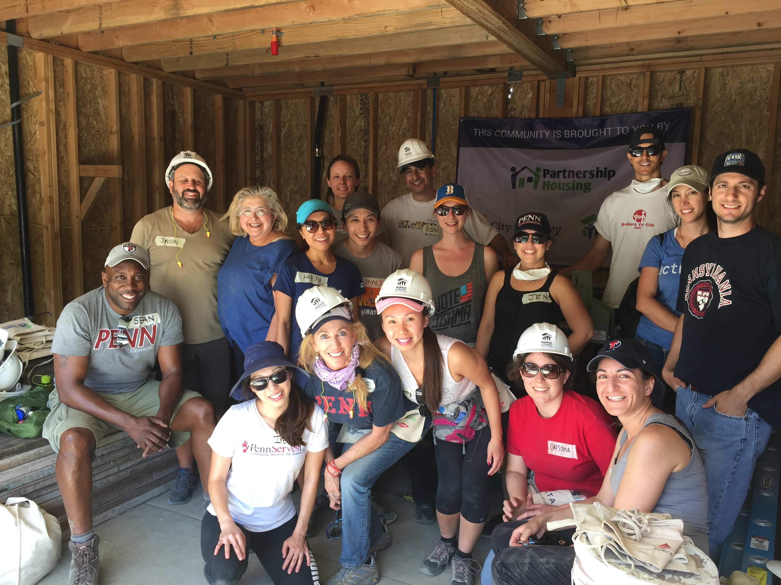 Penn Serves LA helps Habitat for Humanity Los Angeles - volunteering Penn Alumni with Habitat LA