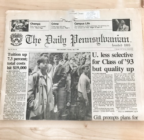 The July 1, 1989 issue of The Daily Pennsylvanian sent to incoming Freshman