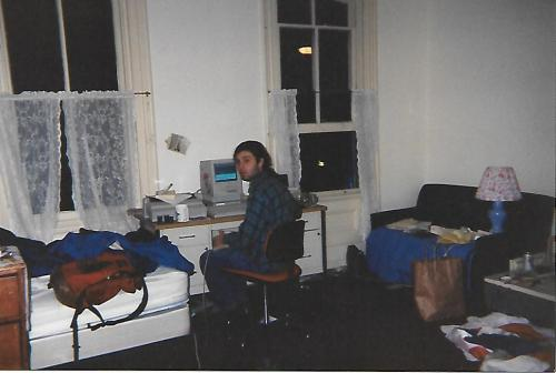 Dorm life at University of Pennsyvania featuring an early Apple computer 1992 #93tothe25th