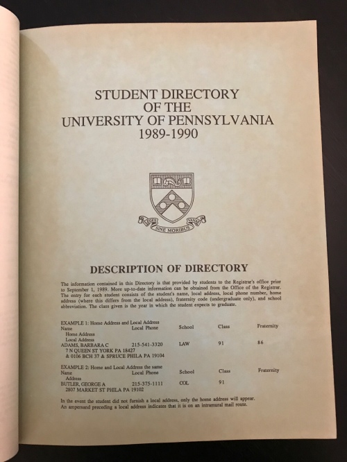 Title page Penn Student Agencies' 1989 Penn Student Directory University of Pennsylvania #93tothe25th