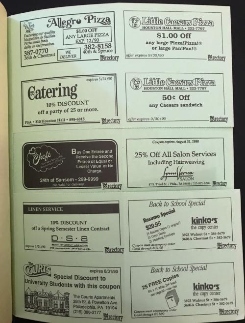 Penn Directory coupons University of Pennsylvania Penn Student Agencies #93tothe25th