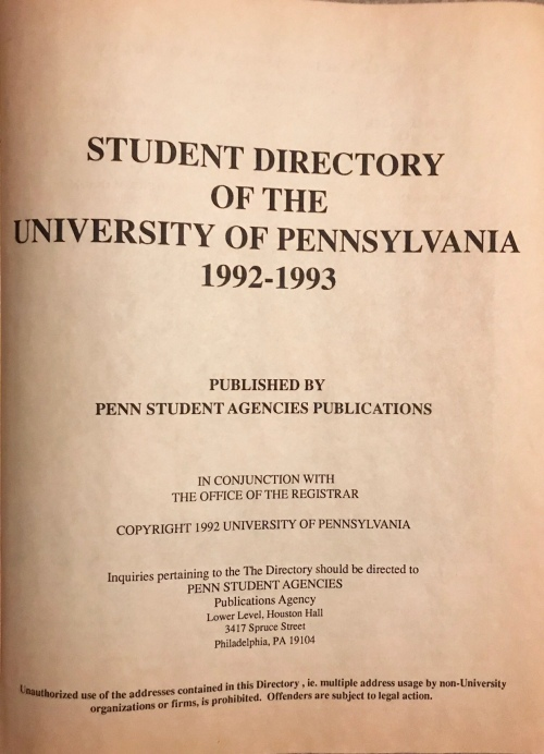 Penn Student Agencies 1992 Penn Directory photo by Kiera Reilly #93tothe25th