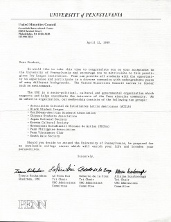 Penn United Minorities Council letter to admitted students