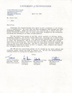 Platt UMC letter personal April 1989