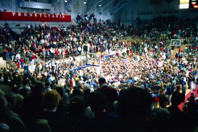 Penn defeats Yale 71 - 49 on March 5, 1993 and clinches the Ivy League Title for 1992 - 1993. Fans storm the court.
