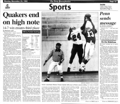 The Daily Pennsylvanian Penn Football 1992