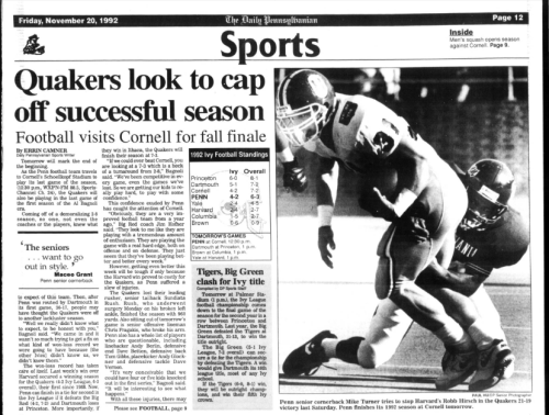 The DP Penn vs. Cornell Football 1992