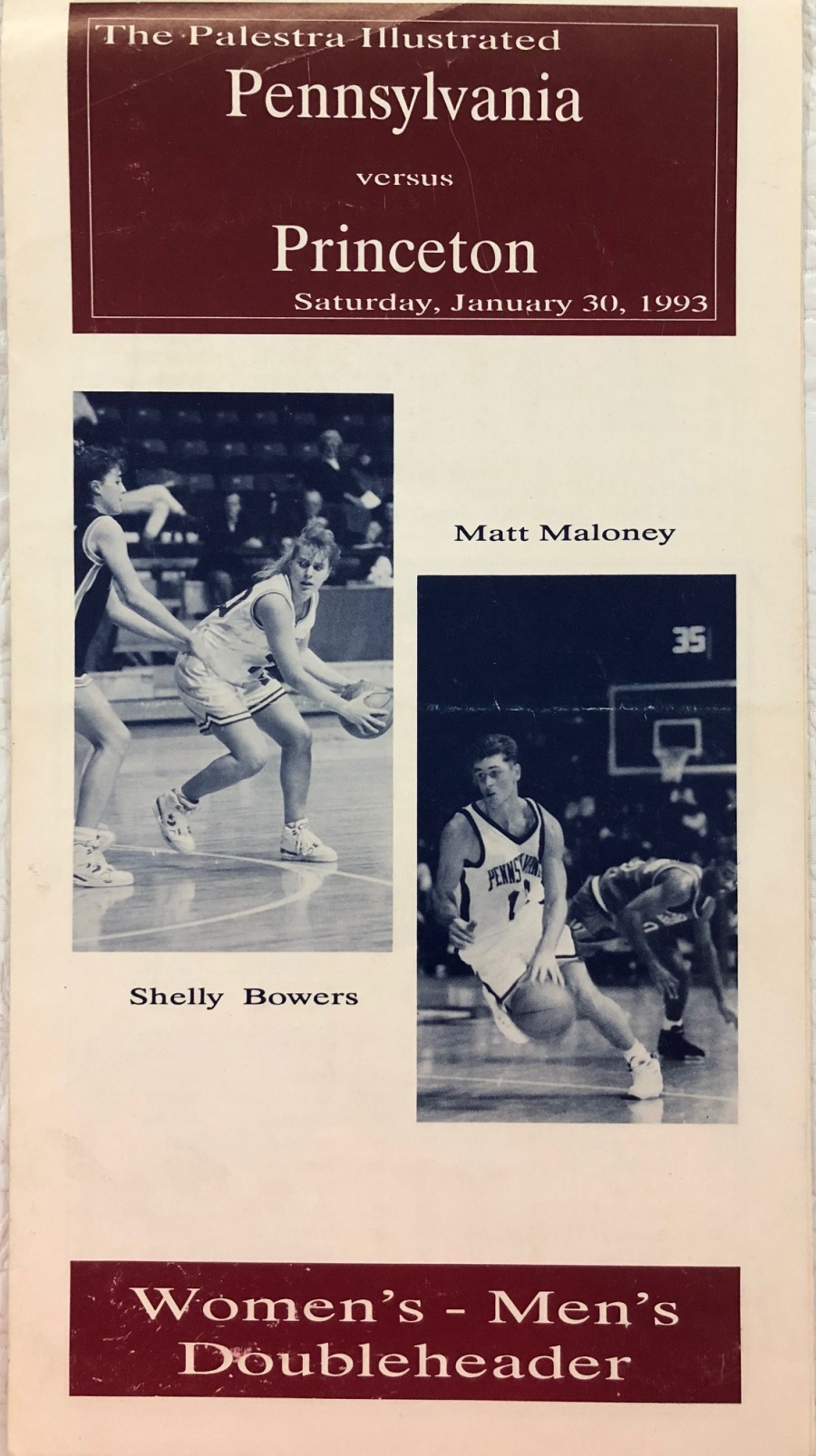 Program from Penn vs. Princeton men's and women's basketball games at the Palestra on January 30, 1993