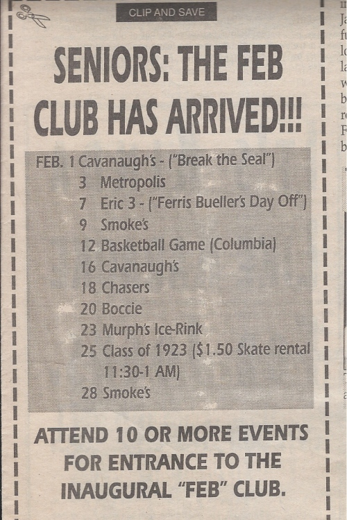 1993 Senior Class Board Feb Club schedule