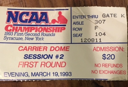 NCAA Championship 1993 Round 1 ticket