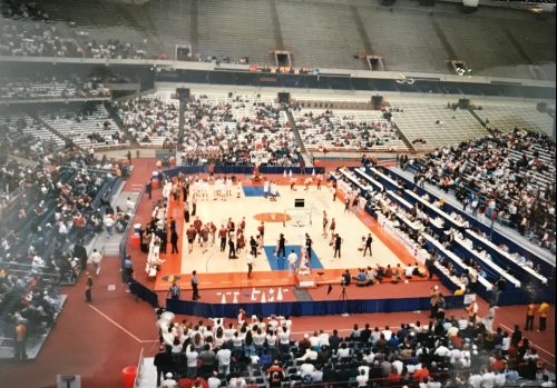 Penn and Umass men's basketball teams Carrier Dome