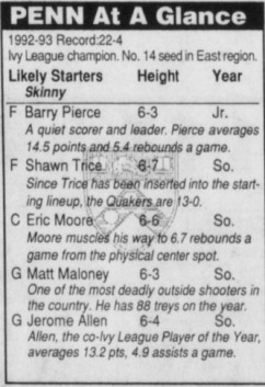 Penn at a Glance NCAA tournament 1993