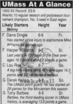 UMass at a Glance for NCAA tournament 1993
