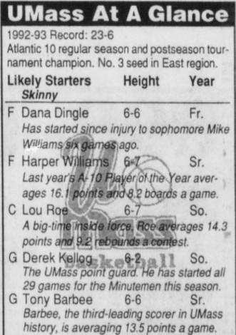 UMass at a Glance for NCAA tournament 1993