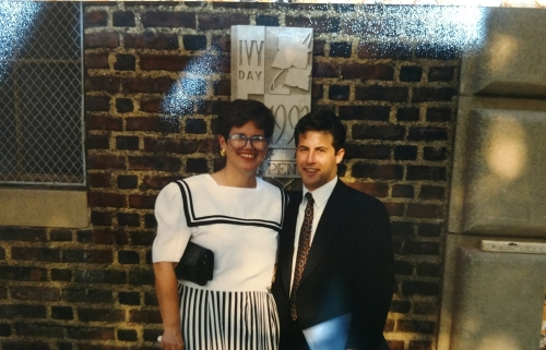Harriet Joseph and Michael Gordon in front of Penn Class of 1993 Ivy Stone