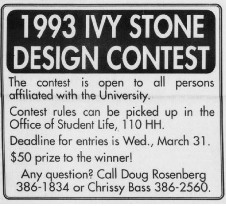 Ivy Stone design contest for Penn Class of 1993 in the DP