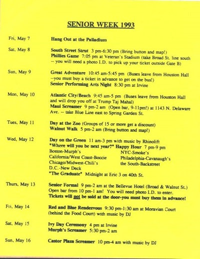 Penn 1993 Senior week schedule