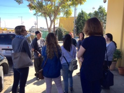 The Penn Serves group starting the tour outside HomeBoy Industries in Downtown LA